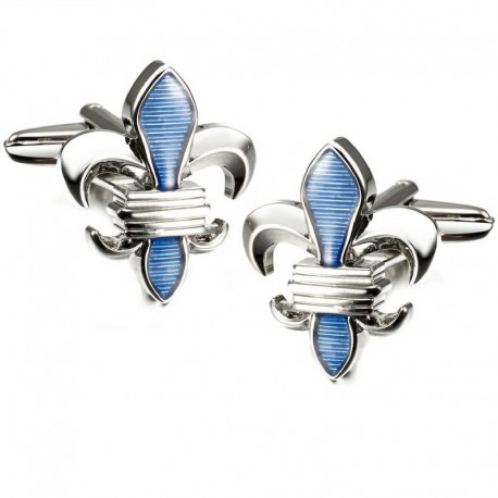 Boutons de Manchette Fleur de Lys Bleu Ciel