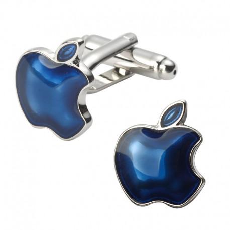 Boutons de Manchettes Pomme Bleue