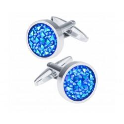Boutons de Manchette Cristal Bleu Magique
