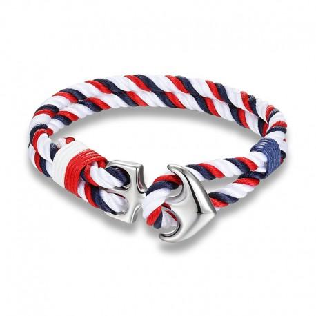 Bracelet Ancre Cuir Multicolore